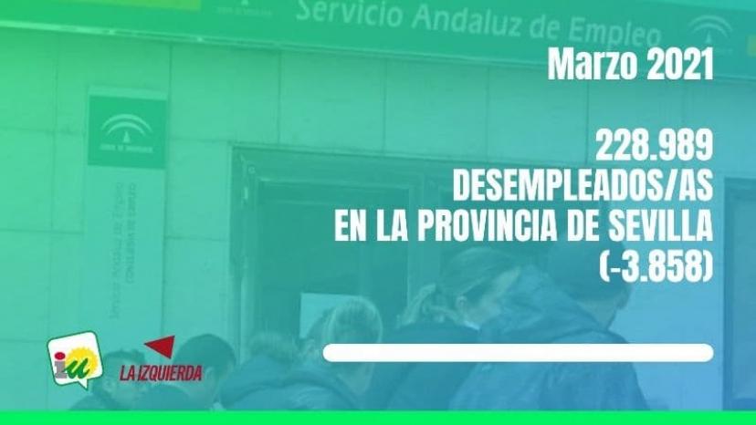 Valoración de los datos de desempleo en la provincia de Sevilla (marzo 2021)