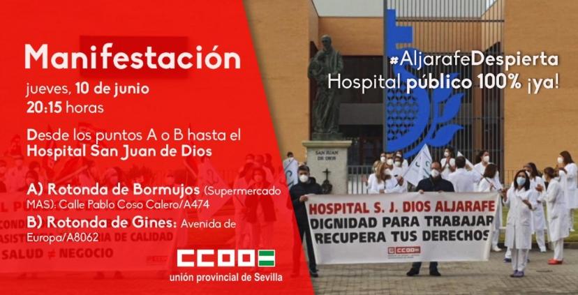 IU Sevilla apoya la manifestación convocada por CC.OO para exigir una sanidad digna y 100% pública en el Hospital del Aljarafe