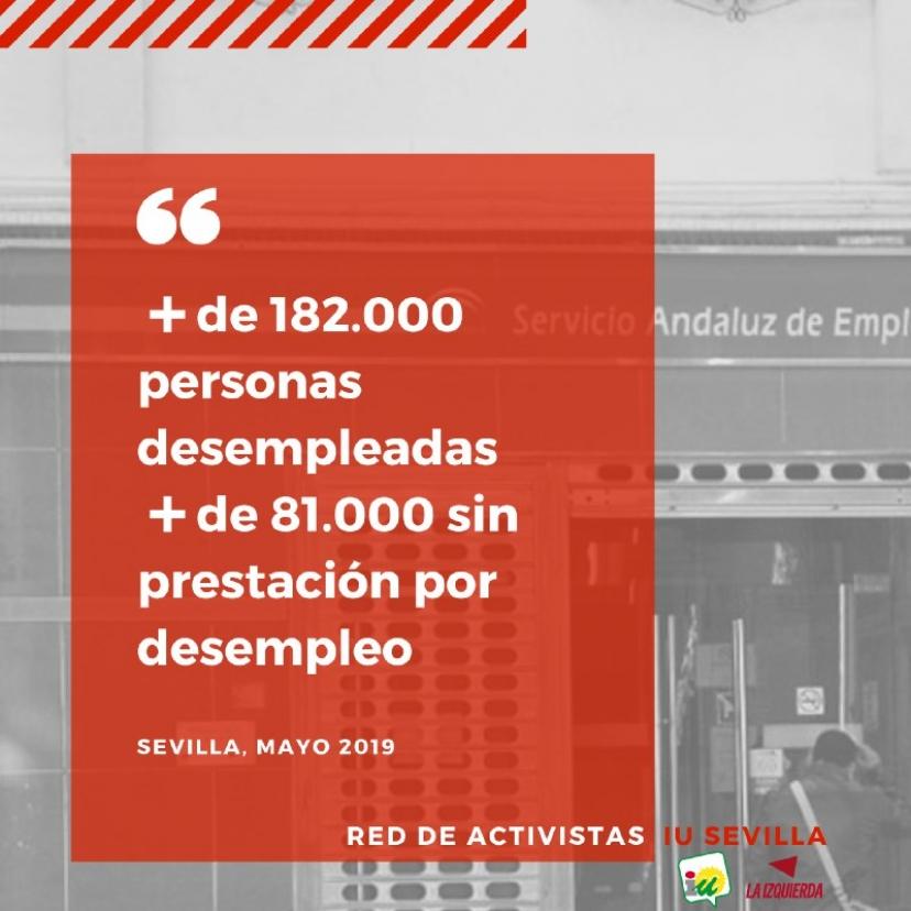 Mayo 2019: La Red de Activistas de IU Sevilla valora las cifras de desempleo en la provincia