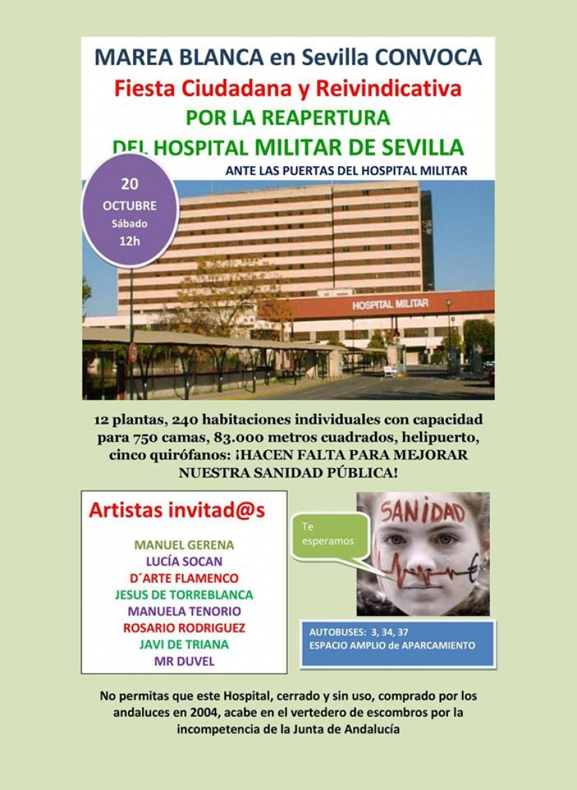 IU Sevilla llama a la movilización el próximo sábado 20 por la reapertura del Hospital Militar
