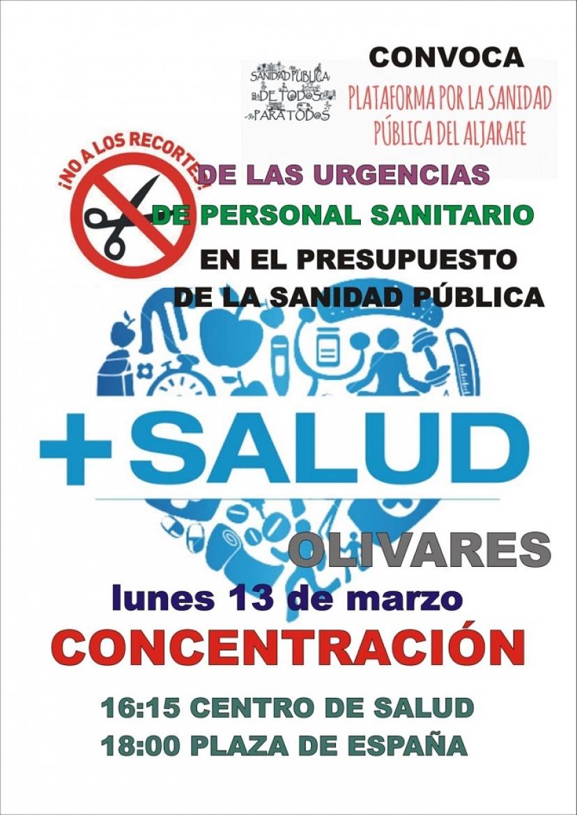 La Plataforma por la Sanidad Pública Aljarafe convoca concentraciones para el lunes 13 en Olivares