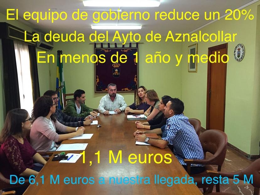 El gobierno municipal de Aznalcóllar reduce un 20% la deuda del Ayuntamiento en año y medio