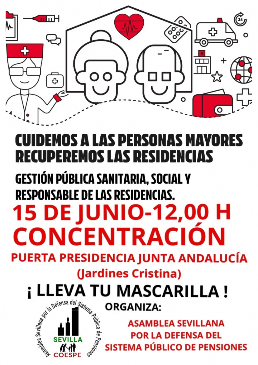 15 de junio: Concentración en defensa de la gestión pública sanitaria, social y responsable de las residencias de mayores