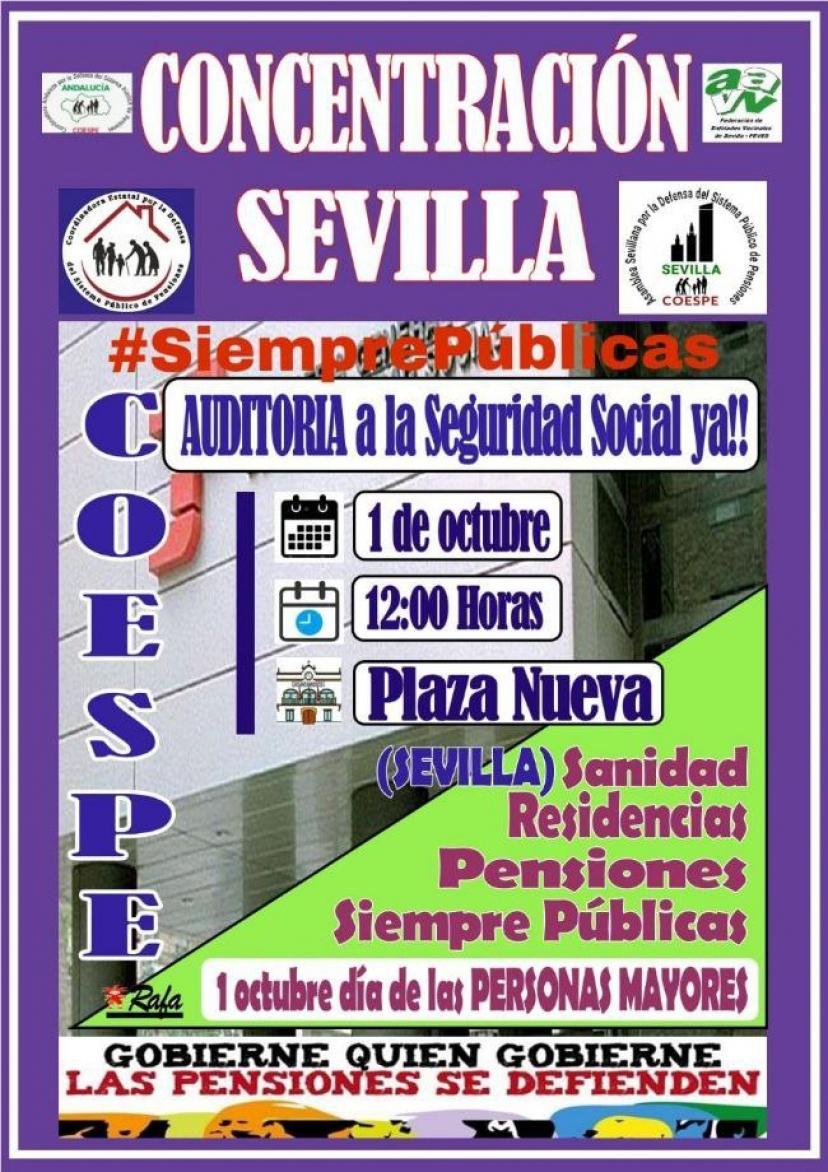 1 de Octubre: Concentración en Plaza Nueva (Sevilla) por el Día Internacional de las Personas Mayores