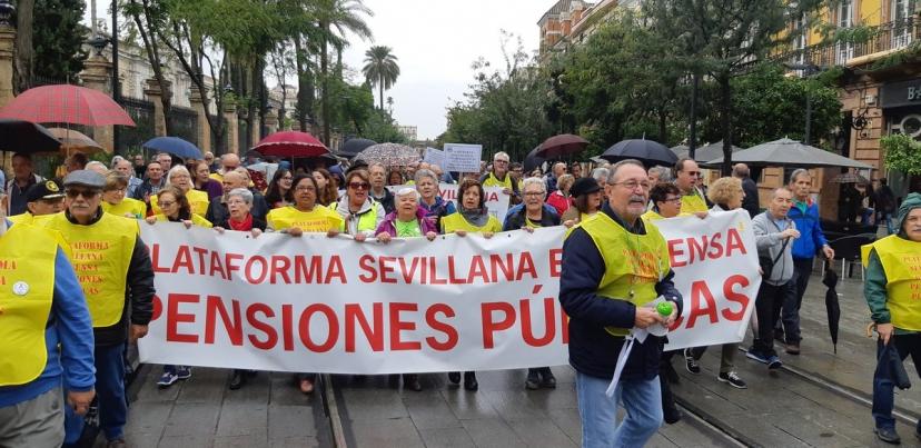 Manifestación hoy en defensa de las Pensiones coindiciendo con el Consejo de Ministros/as