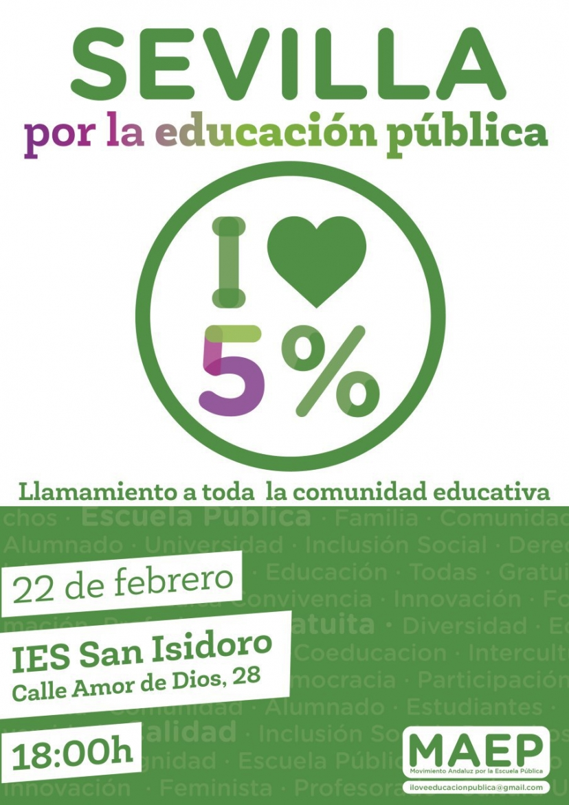 Importante encuentro en Sevilla por la educación pública. ¡No faltes!