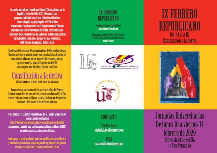 IX Febrero Republicano: Programa de las jornadas universitarias y novedades