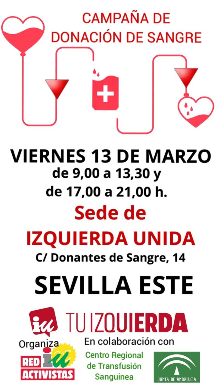 13 de marzo: Donación de Sangre en la sede de IU Sevilla (boletín 'En Red' nº 4)