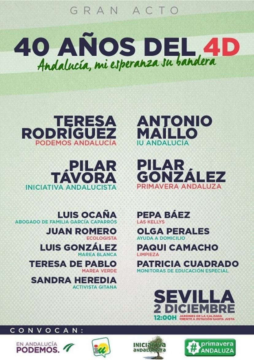 Acto '40 años del 4D: Andalucía, mi esperanza su bandera'. Sábado 2 de diciembre en Sevilla.
