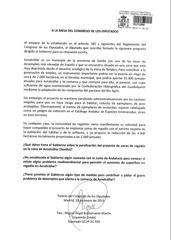 IU lleva al Congreso la necesidad de poner en riego 2.000 hectáreas en Aznalcóllar