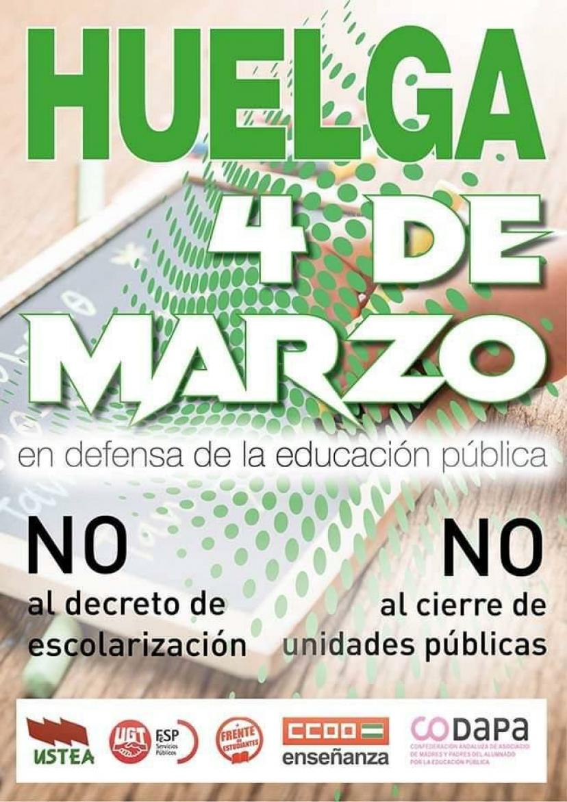 IU Sevilla apoya la Huelga Educativa del 4 de marzo contra el decreto del gobierno andaluz