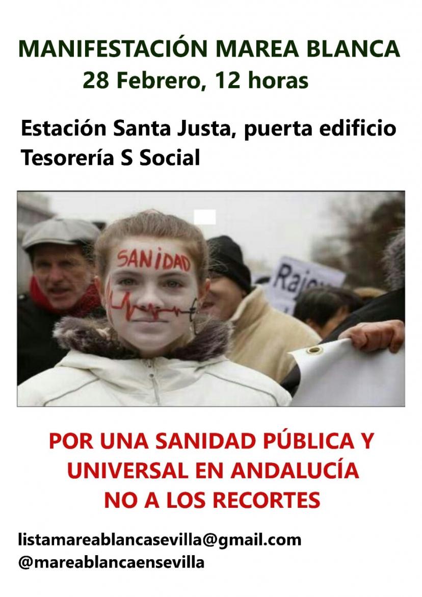Marea Blanca en Sevilla anima a la participación en la manifestación unitaria del 28F