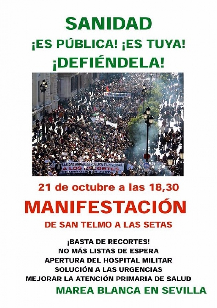 21 de octubre: Contra los recortes ¡Todas y todos a defender la Sanidad Pública!