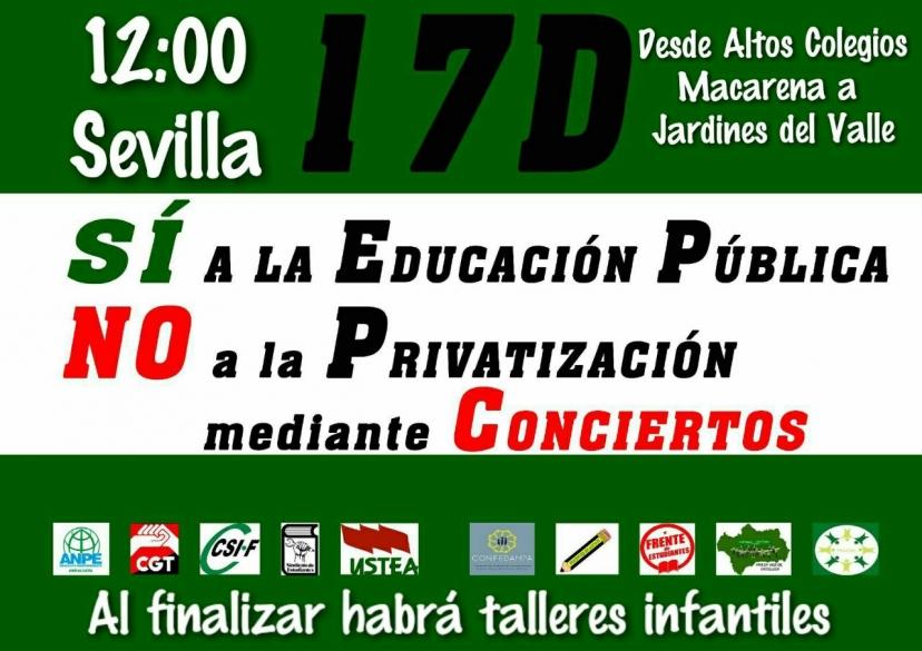Apoyamos la Manifestación por la Educación Pública en Sevilla