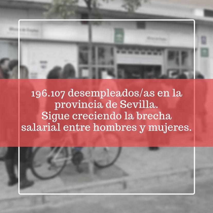 Aumenta el paro en Sevilla en el mes de febrero. El número de parados/as siguió subiendo en febrero a pesar del mal dato de enero.
