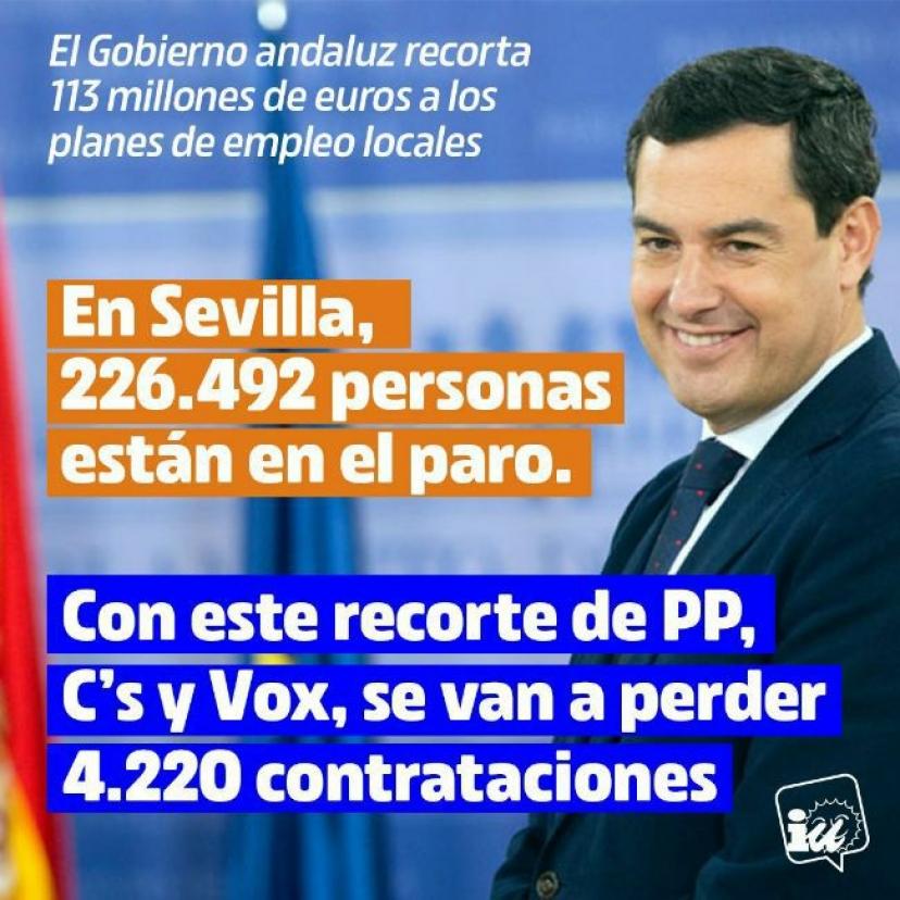 IU lanza una ofensiva institucional en Sevilla ante la pérdida de 4.220 contrataciones con el plan de empleo anunciado por Gobierno andaluz de las derechas y la ultraderecha